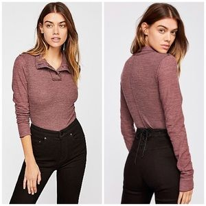 Free People Marigold button turtleneck thermal top